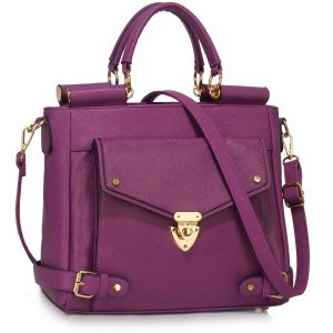 LS00237A - Purple Twist Lock Flap Grab Tote