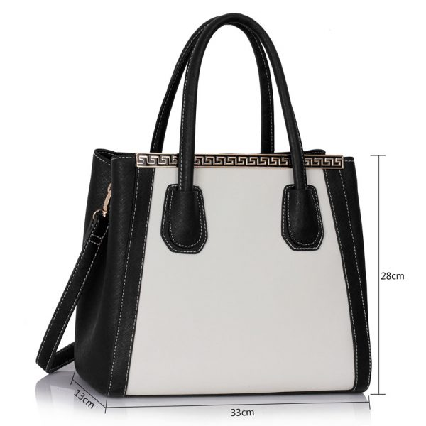 LS0030C - Black / White Fashion Tote Bag