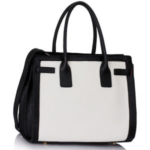 LS00325 - Black / White Grab Tote Handbag