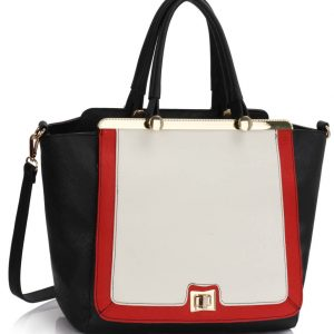 LS00358 - Black / White / Red Metal Frame Tote Handbag