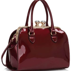 LS00378 - Burgundy Patent Satchel With Metal Frame