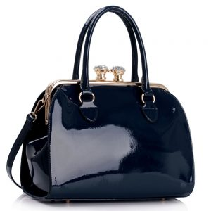 LS00378 - Navy Patent Satchel With Metal Frame