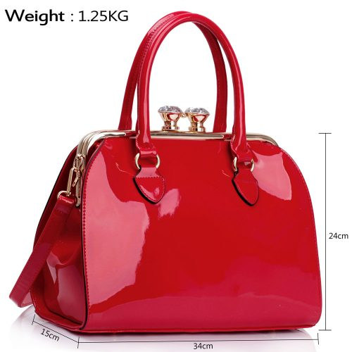 LS00378 - Red Patent Satchel With Metal Frame