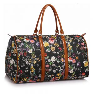 AG00479 - Black Floral Weekend Duffle Bag