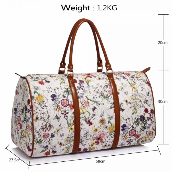 AG00479 - White Floral Weekend Duffle Bag