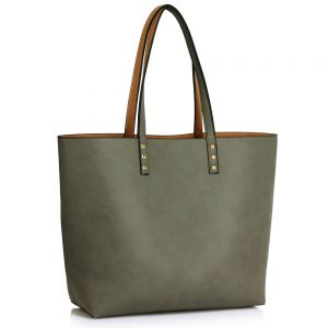 LS00491 - Reversible Grey/Nude Grab Shoulder Handbag
