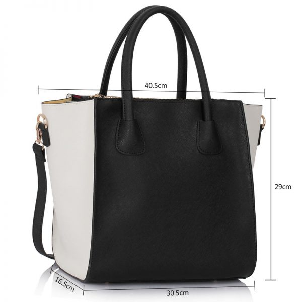 LS0061A - White/Black Fashion Tote Bag