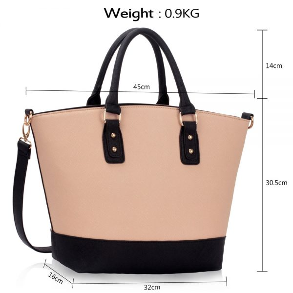 LS0085 - Black / Nude Fashion Tote With Long Strap