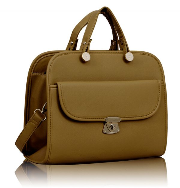 LS008A- Tan Womens Satchel With Long Strap