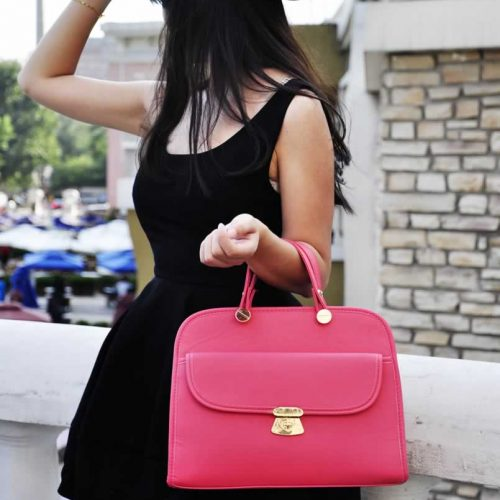 LS008A- Pink Womens Satchel With Long Strap