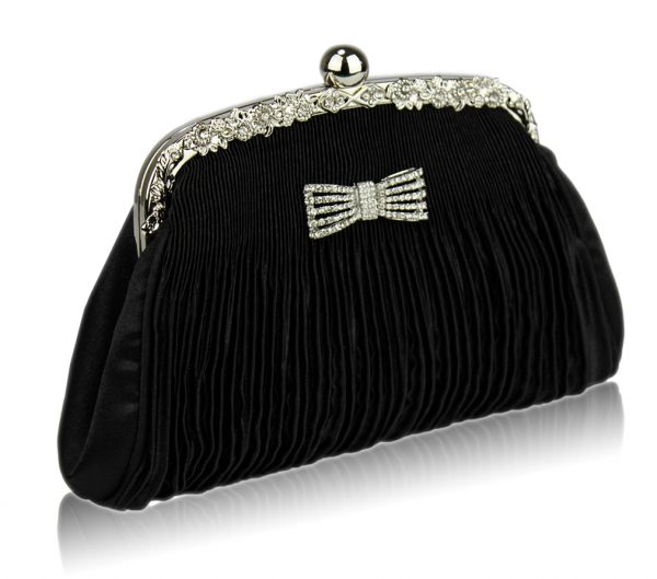LSE00129 - Black Ruched Satin Clutch With Crystal Decoration