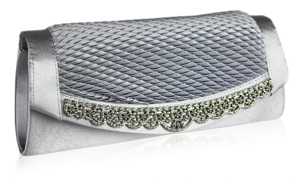 LSE00131 - Gorgeous Silver Crystal Clutch Evening Bag