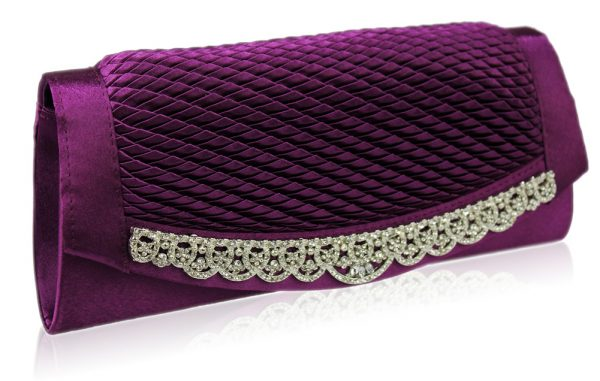 LSE00131 - Gorgeous Purple Crystal Clutch Evening Bag