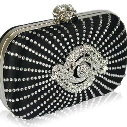 LSE00136-Black Satin Clutch Bag With Crystal-Encrusted Skull Clasp