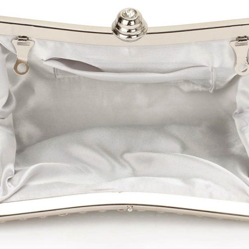 LSE00139- Silver Sparkly Crystal Satin Clutch purse