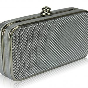 LSE00150 - Silver Beaded Hard Case Evening Clutch