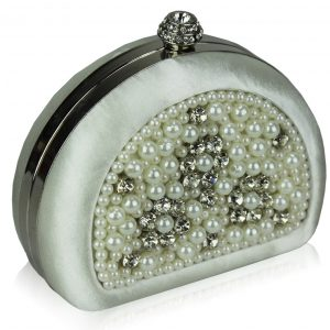 LSE00153 - Ivory Beaded Pearl Rhinestone Clutch Bag