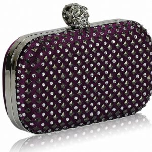 LSE00154- Purple Stud Clutch Bag With Crystal-Encrusted Skull Clasp