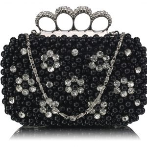 LSE00158- Black Women's Knuckle Rings Clutch With Crystal Decoration