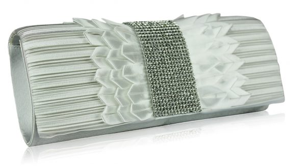 LSE00165 -Ivory Ruched Satin Clutch With Crystal Trim