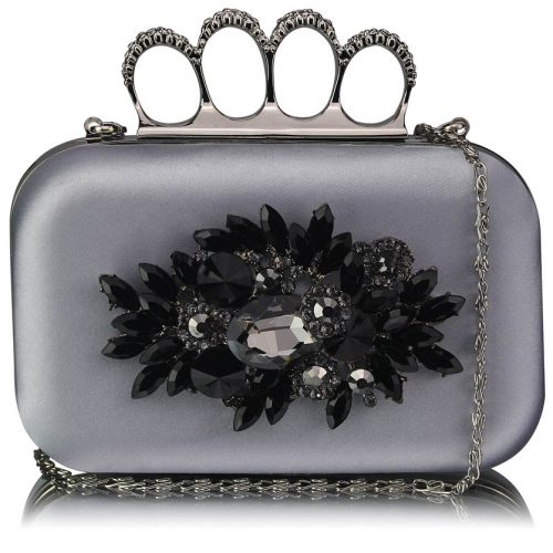 LSE00178- Silver Women's Knuckle Rings Evening Bag