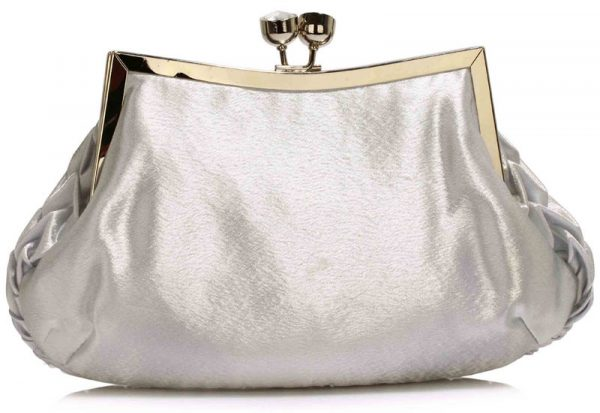 LSE00193 - Silver Crystal Evening Clutch Bag