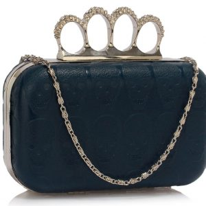 LSE00195- Navy Skull Embossed Clutch Bag