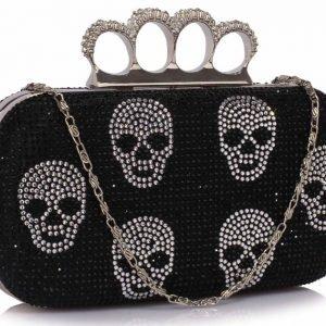 LSE00198- Black Women's Knuckle Rings Evening Bag