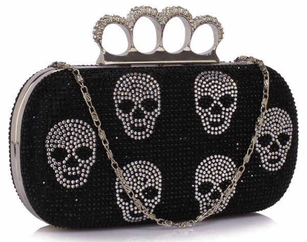 LSE00198- Black Women's Knuckle Rings Evening Bag