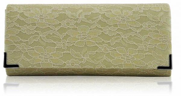 LSE00234 - Beige Lace Clutch Bag