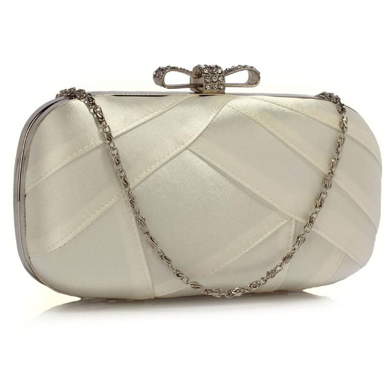 Lse00258 Ivory Satin Clutch Evening Bag