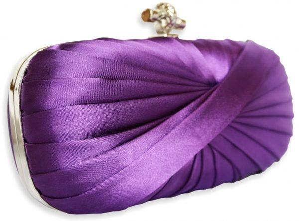 LSE0031 - Purple Pleated Satin Clutch Bag