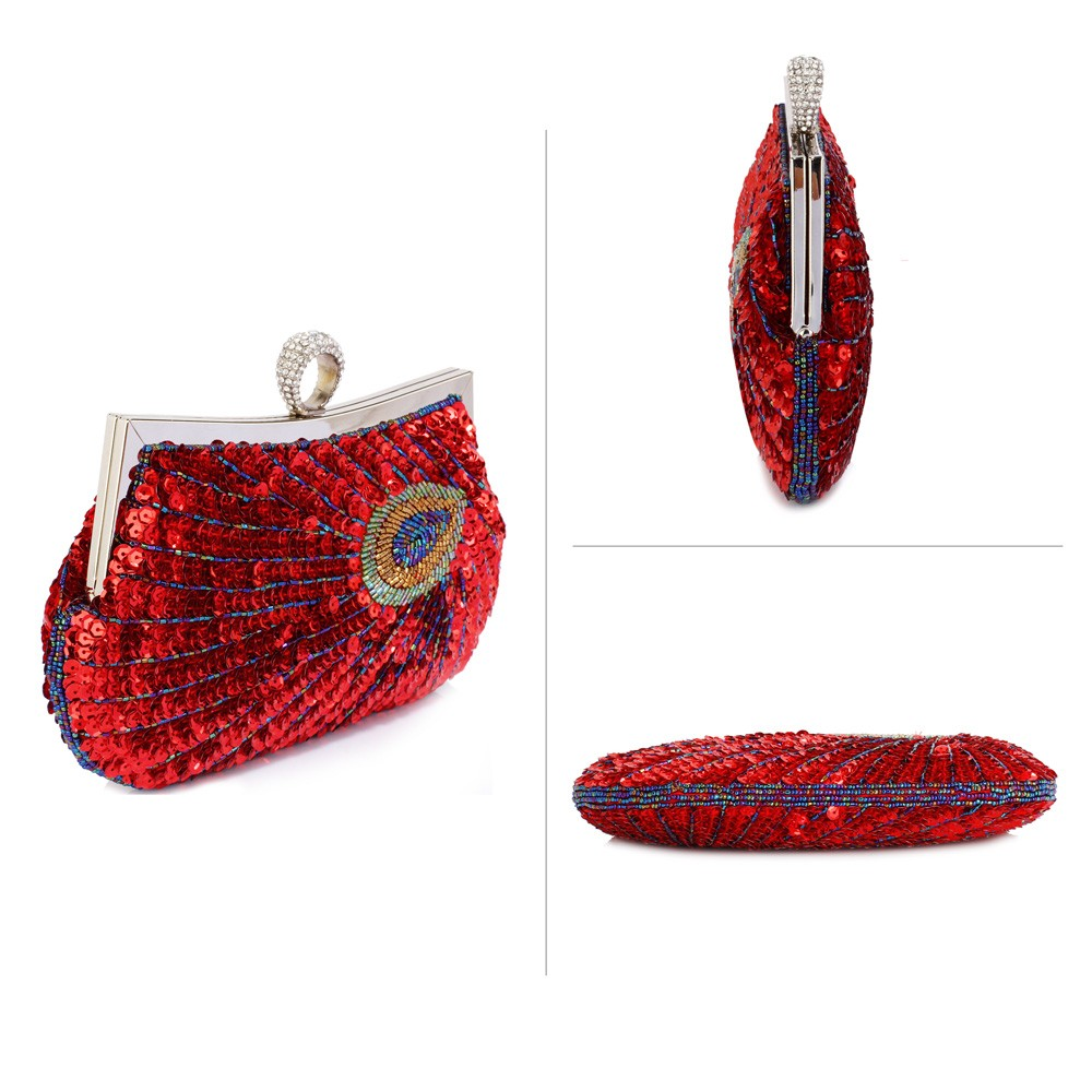 aa63d7054c LSE00297 – Red Sequin Peacock Feather Design Clutch Evening Party Bag