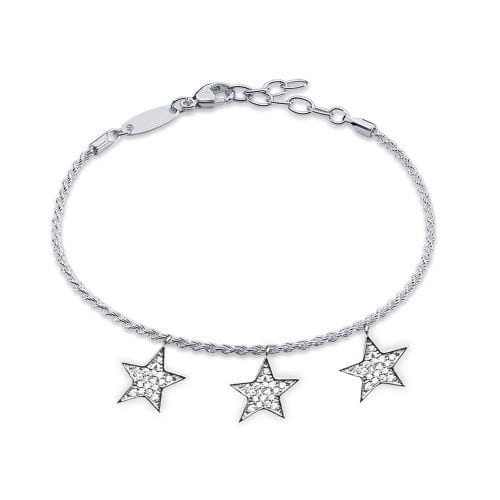 AGB0067 - Silver Stars Crystal Bracelet