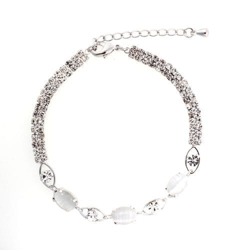AGB0068 - Silver Sparkling Crystal Pearl Bracelet