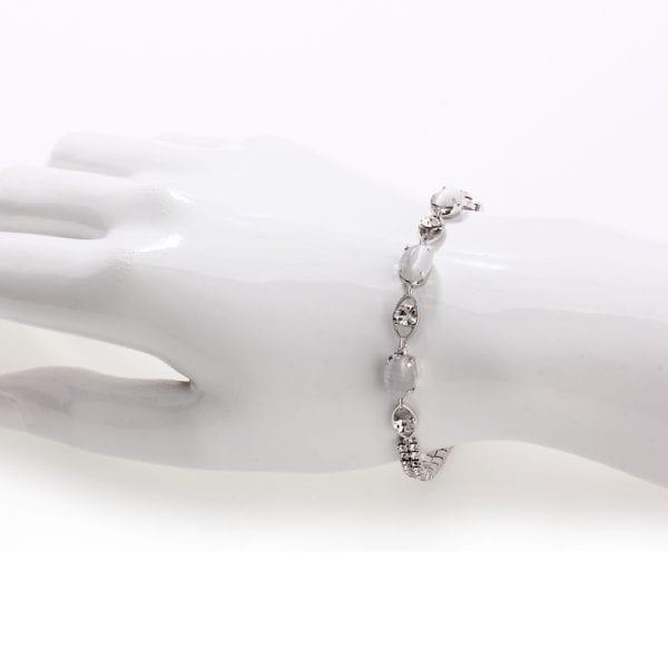 AGB0068 - Silver Sparkling Crystal Pearl Bracelet