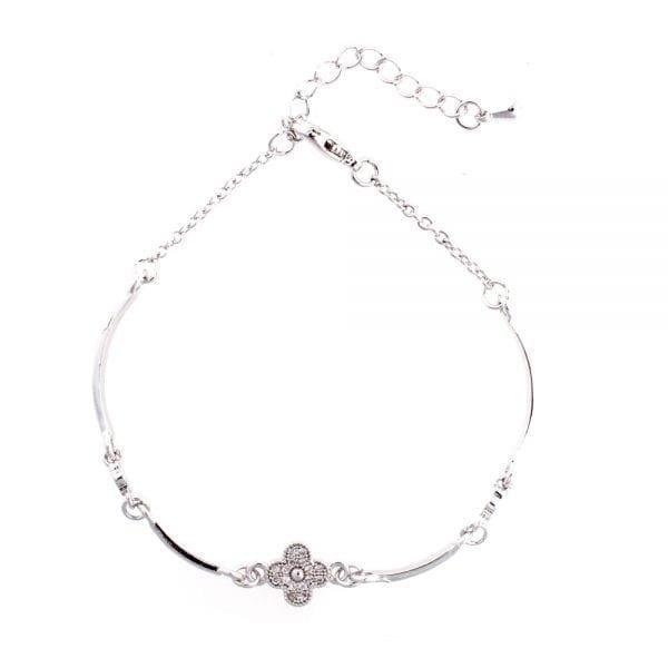 AGB0071 - Silver Flower Crystal Bracelet
