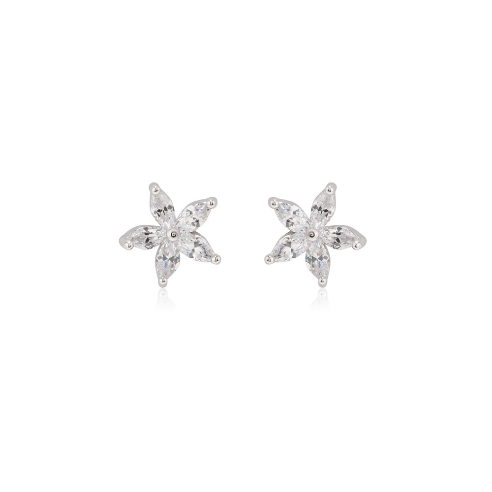 AGE0011 - Silver Sparkling Crystal Star Earring