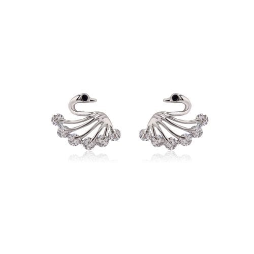 AGE0012 - Silver Sparkling Crystal Swan Earring