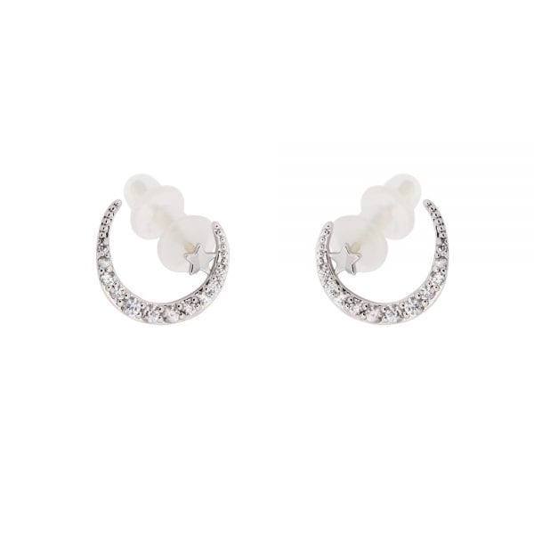 AGE0018 - Silver Sparkling Crystal Moon & Star Earring