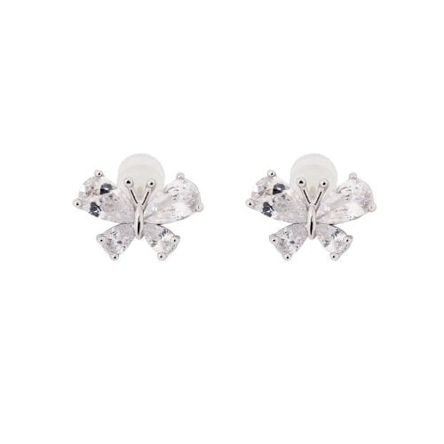 AGE0020 - Silver Sparkling Crystal Butterfly Earring
