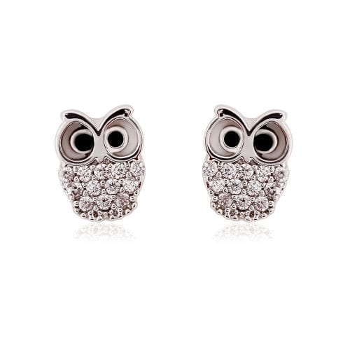 AGE0021 - Silver Sparkling Crystal Owl Earring