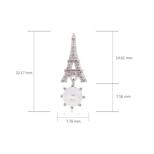 AGE0022 - Silver Sparkling Crystal Pearl Eiffel Tower Earring