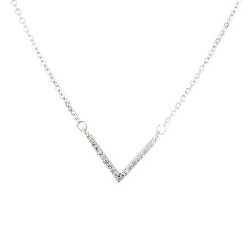 AGN0014 - Sparkling Silver Plated V Crystal Necklace