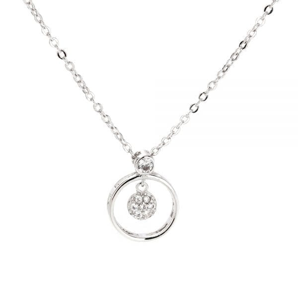 AGN0018 - Sparkling Silver Plated Crystal Circle Necklace