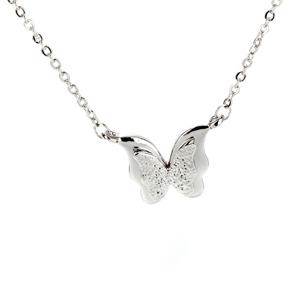 AGN0019 - Sparkling Silver Plated Crystal Butterfly Necklace