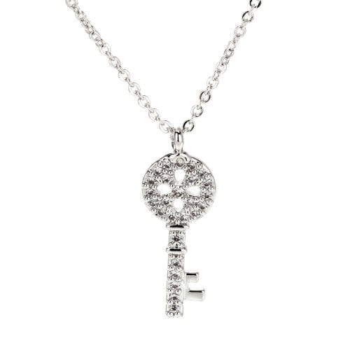 AGN0022 - Sparkling Silver Plated Crystal Key Necklace