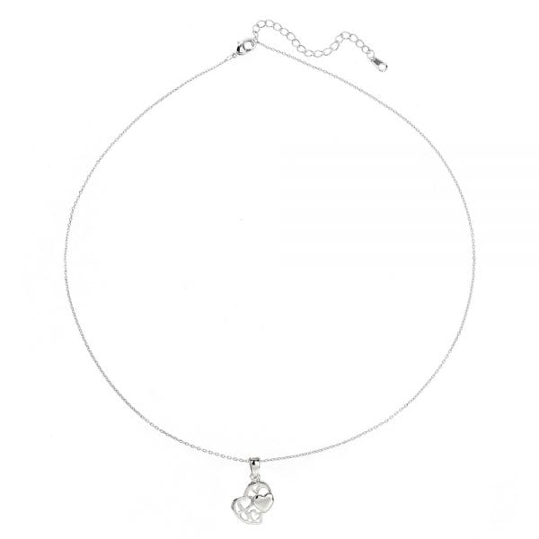AGN0023 - Sparkling Silver Plated Crystal Heart Necklace