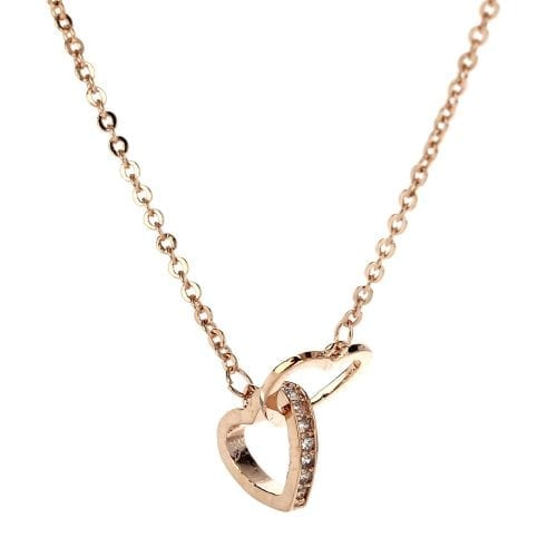 AGN0026 - Gold Plated Crystal Two Hearts Necklace