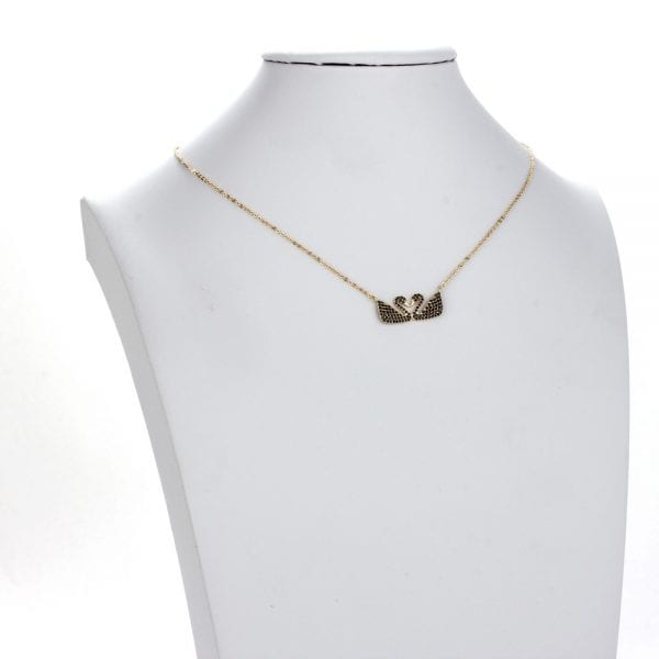 AGN0027 - Gold Plated Crystal Two Swan Necklace